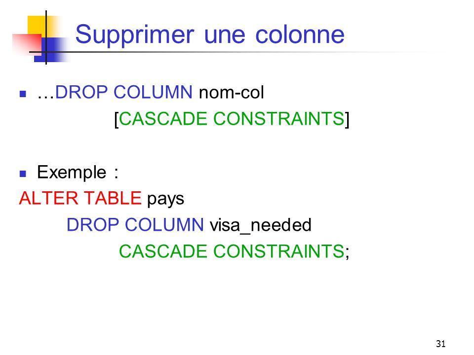 31 Supprimer une colonne …DROP COLUMN nom-col [CASCADE CONSTRAINTS] Exemple : ALTER TABLE pays DROP COLUMN visa_needed CASCADE CONSTRAINTS;