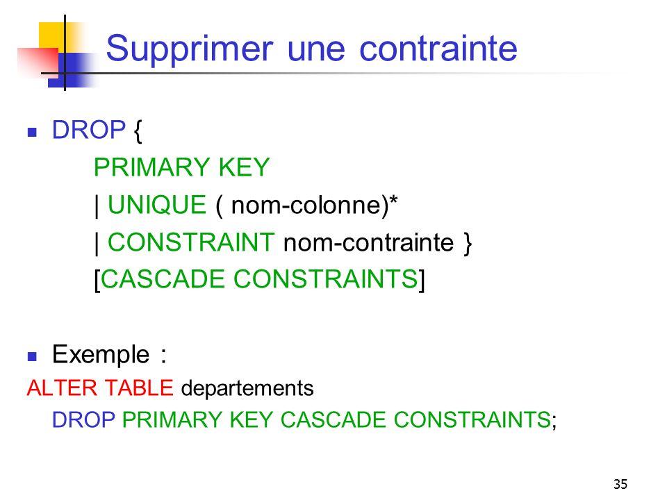 35 Supprimer une contrainte DROP { PRIMARY KEY | UNIQUE ( nom-colonne)* | CONSTRAINT nom-contrainte } [CASCADE CONSTRAINTS] Exemple : ALTER TABLE depa