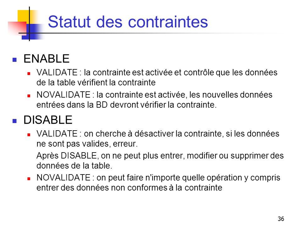 36 Statut des contraintes ENABLE VALIDATE : la contrainte est activée et contrôle que les données de la table vérifient la contrainte NOVALIDATE : la
