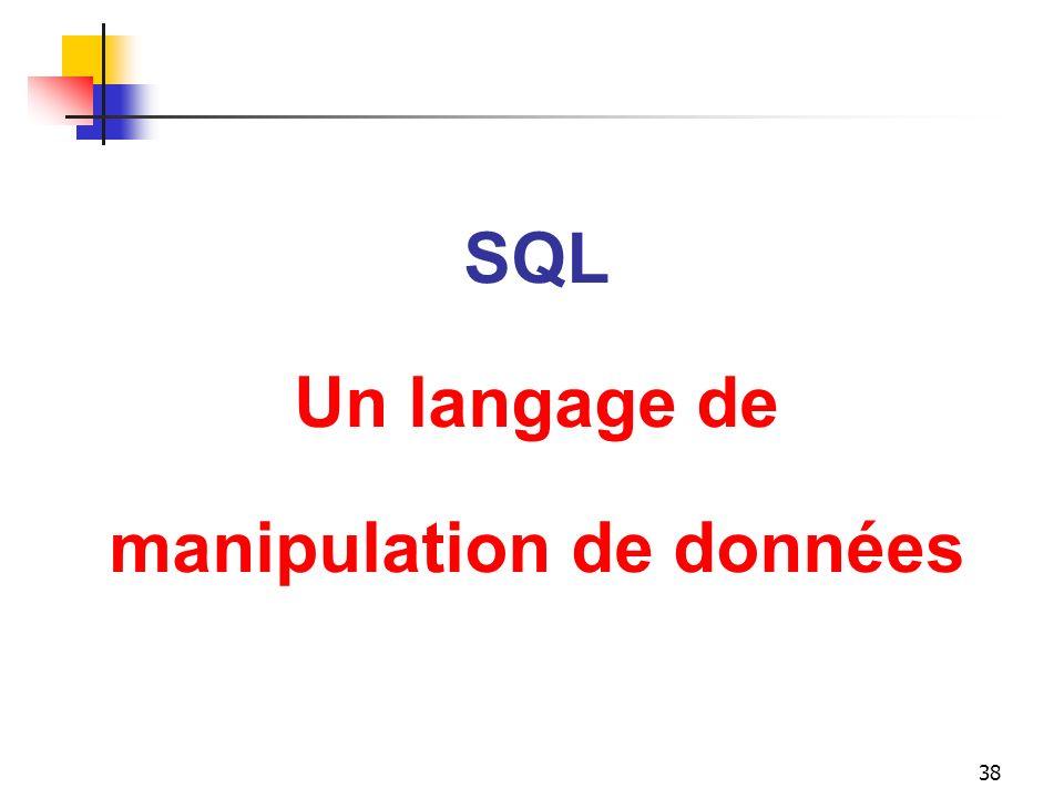 38 SQL Un langage de manipulation de données