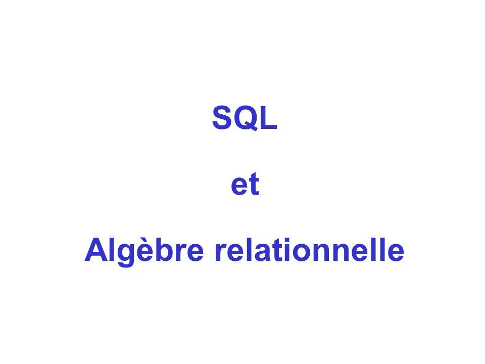 SQL et Algèbre relationnelle