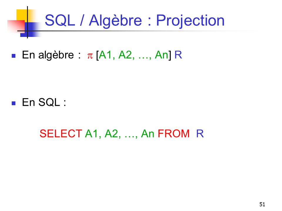 51 SQL / Algèbre : Projection En algèbre : [A1, A2, …, An] R En SQL : SELECT A1, A2, …, An FROM R