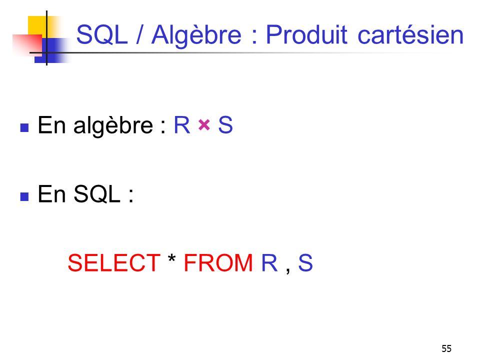 55 SQL / Algèbre : Produit cartésien En algèbre : R × S En SQL : SELECT * FROM R, S