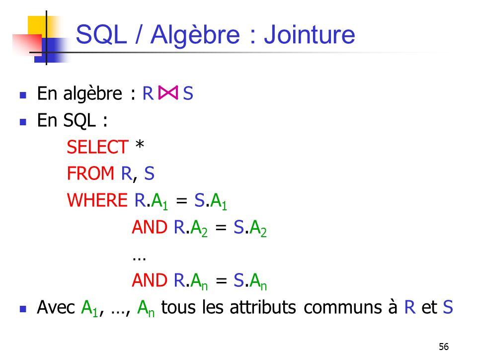 56 SQL / Algèbre : Jointure En algèbre : R S En SQL : SELECT * FROM R, S WHERE R.A 1 = S.A 1 AND R.A 2 = S.A 2 … AND R.A n = S.A n Avec A 1, …, A n to