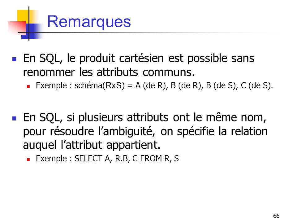66 Remarques En SQL, le produit cartésien est possible sans renommer les attributs communs. Exemple : schéma( RxS ) = A (de R), B (de R), B (de S), C