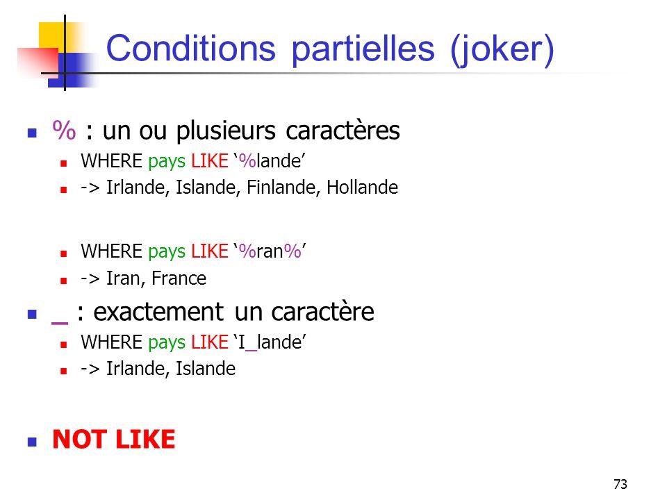 73 Conditions partielles (joker) % : un ou plusieurs caractères WHERE pays LIKE %lande -> Irlande, Islande, Finlande, Hollande WHERE pays LIKE %ran% -
