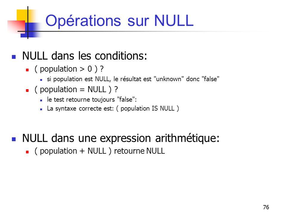 76 Opérations sur NULL NULL dans les conditions: ( population > 0 ) ? si population est NULL, le résultat est