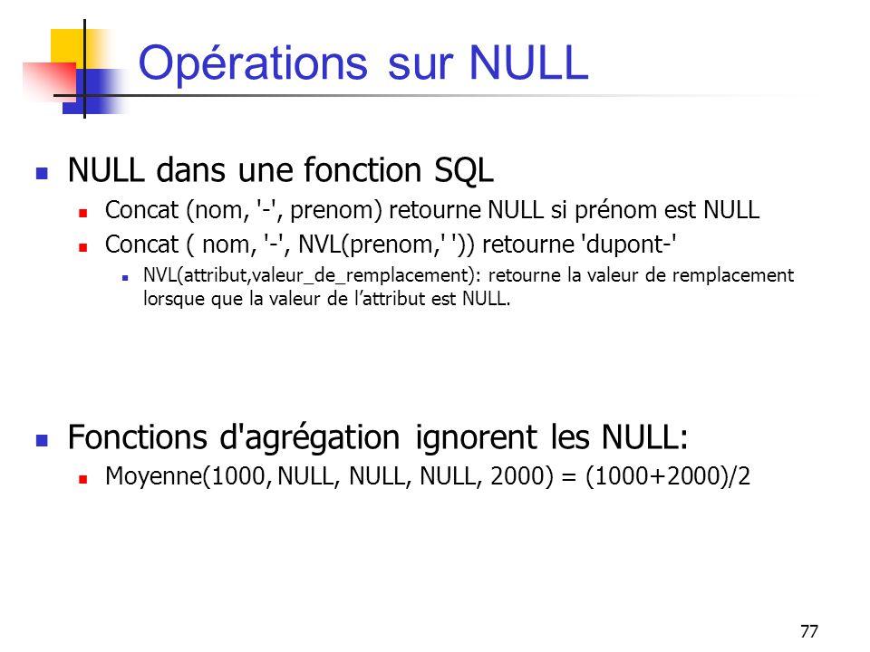 77 Opérations sur NULL NULL dans une fonction SQL Concat (nom, '-', prenom) retourne NULL si prénom est NULL Concat ( nom, '-', NVL(prenom,' ')) retou