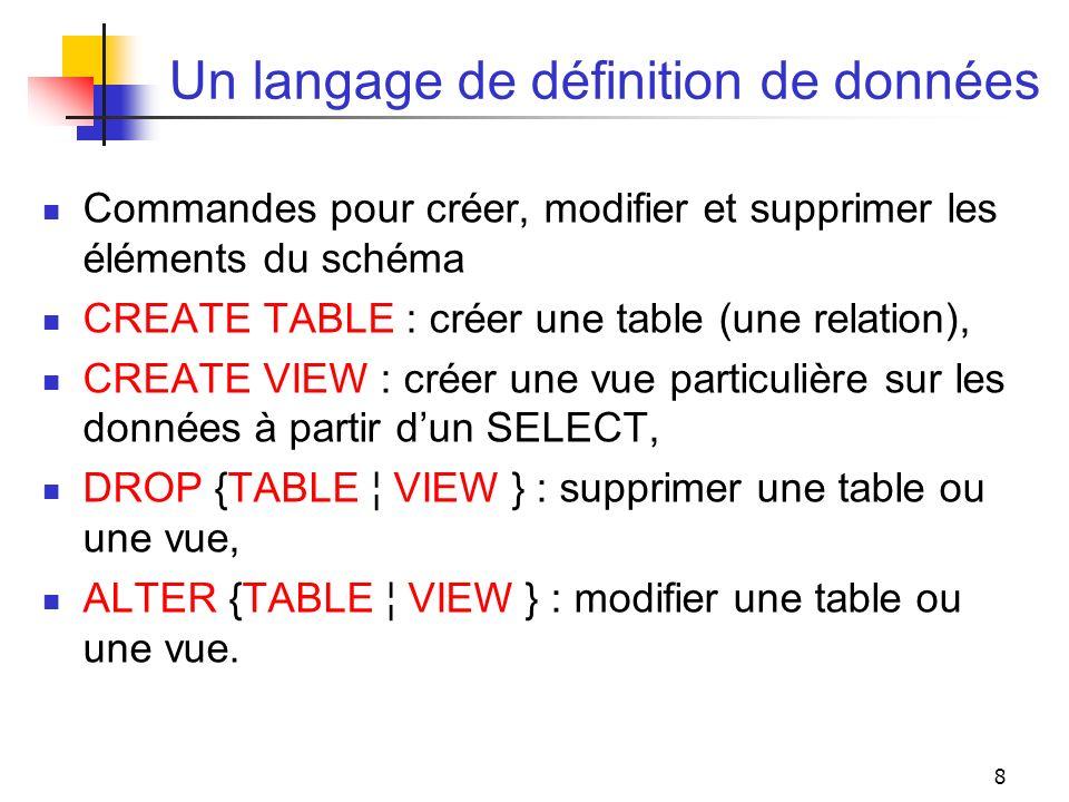 8 Un langage de définition de données Commandes pour créer, modifier et supprimer les éléments du schéma CREATE TABLE : créer une table (une relation)