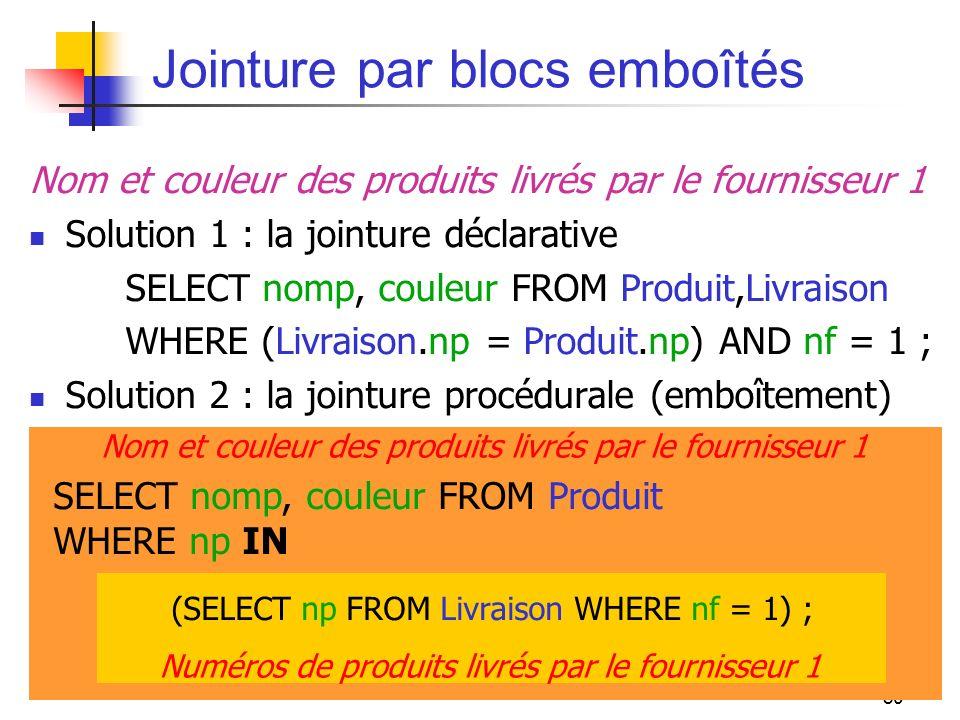80 Nom et couleur des produits livrés par le fournisseur 1 SELECT nomp, couleur FROM Produit WHERE np IN Jointure par blocs emboîtés Nom et couleur de