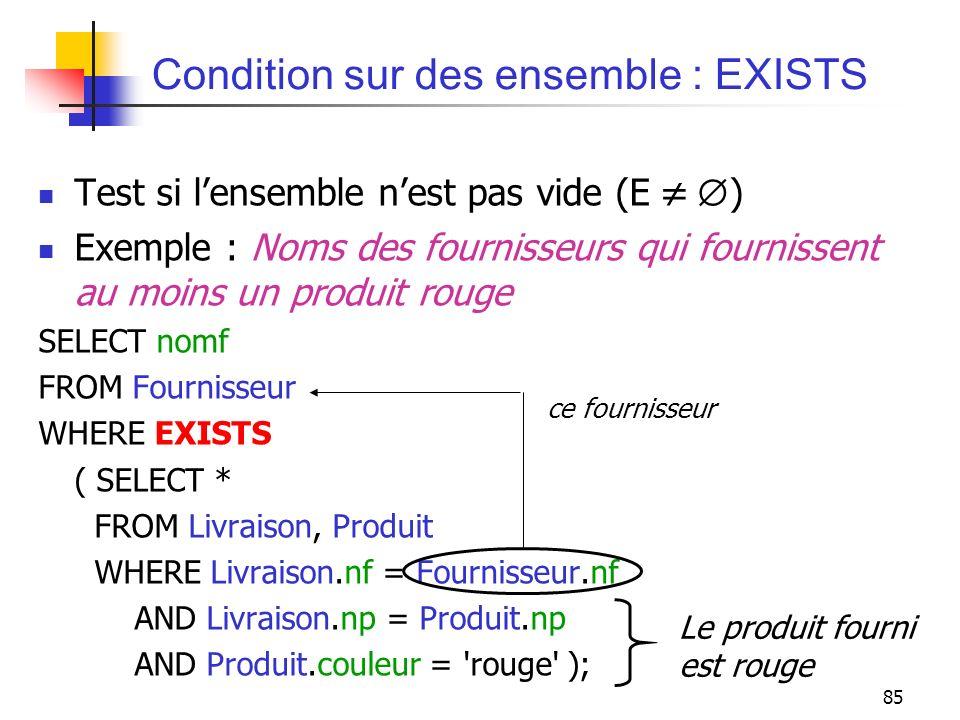 85 Condition sur des ensemble : EXISTS Test si lensemble nest pas vide (E ) Exemple : Noms des fournisseurs qui fournissent au moins un produit rouge