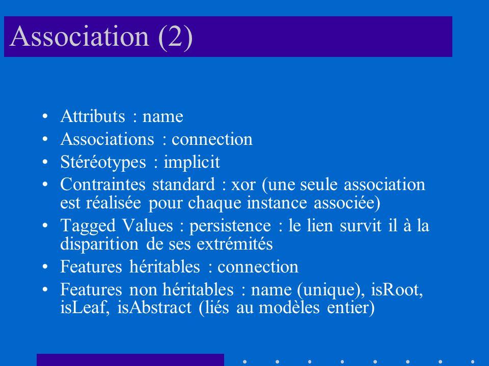 Association (2) Attributs : name Associations : connection Stéréotypes : implicit Contraintes standard : xor (une seule association est réalisée pour chaque instance associée) Tagged Values : persistence : le lien survit il à la disparition de ses extrémités Features héritables : connection Features non héritables : name (unique), isRoot, isLeaf, isAbstract (liés au modèles entier)