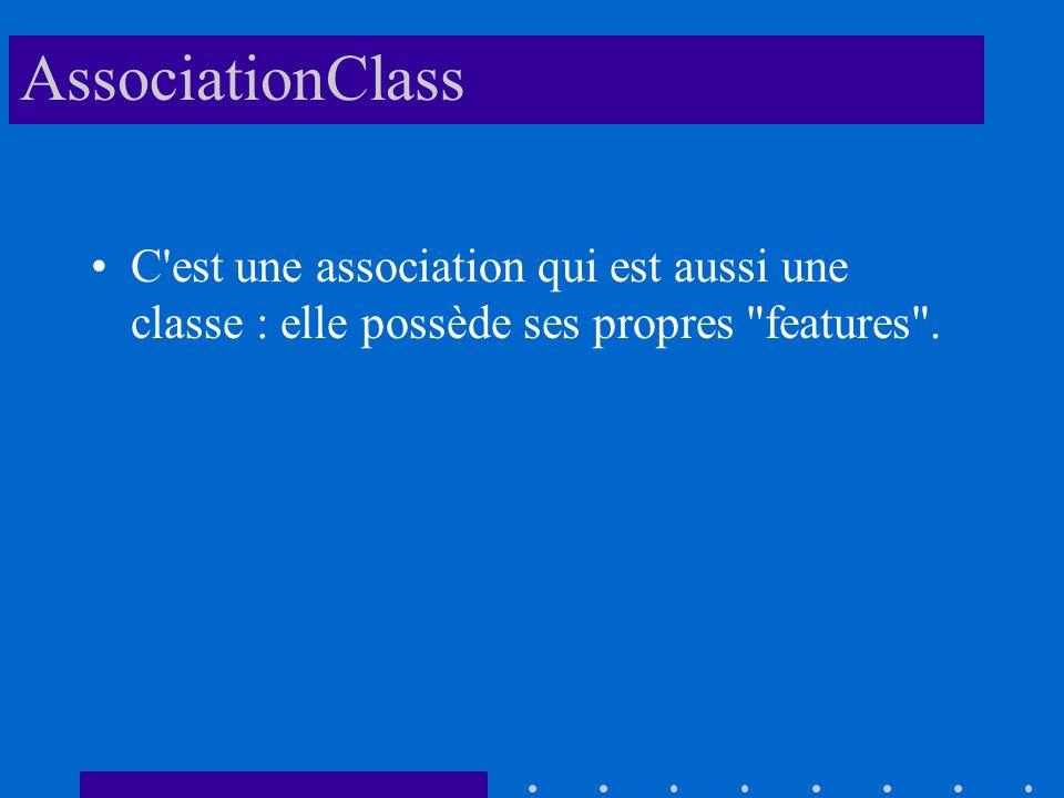 AssociationClass C est une association qui est aussi une classe : elle possède ses propres features .