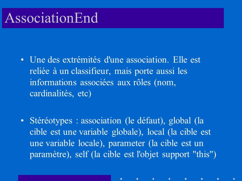 AssociationEnd Une des extrémités d'une association. Elle est reliée à un classifieur, mais porte aussi les informations associées aux rôles (nom, car