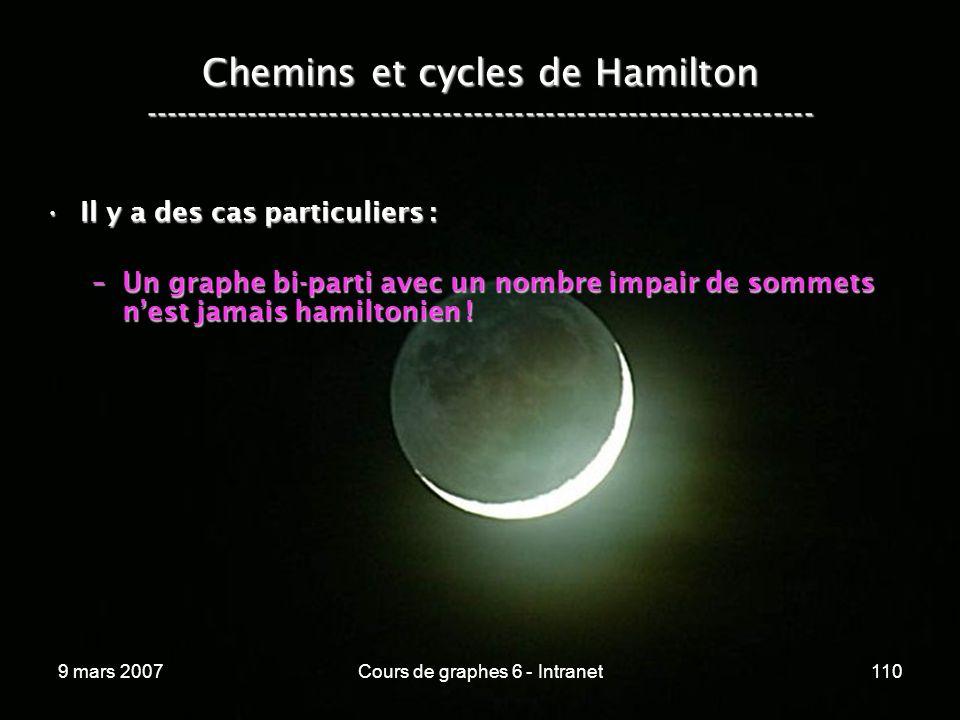 9 mars 2007Cours de graphes 6 - Intranet110 Chemins et cycles de Hamilton ----------------------------------------------------------------- Il y a des cas particuliers :Il y a des cas particuliers : –Un graphe bi-parti avec un nombre impair de sommets nest jamais hamiltonien !