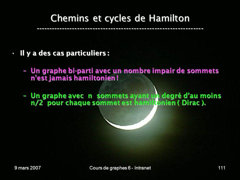 9 mars 2007Cours de graphes 6 - Intranet111 Chemins et cycles de Hamilton ----------------------------------------------------------------- Il y a des cas particuliers :Il y a des cas particuliers : –Un graphe bi-parti avec un nombre impair de sommets nest jamais hamiltonien .
