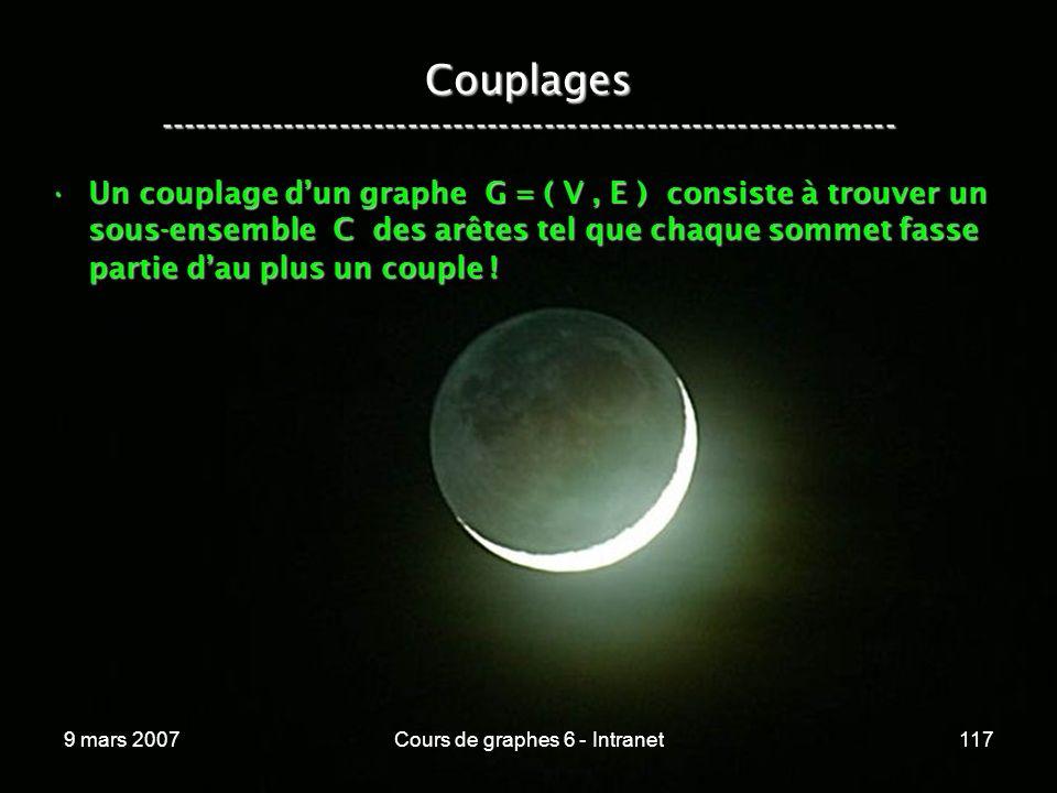 9 mars 2007Cours de graphes 6 - Intranet117 Couplages ----------------------------------------------------------------- Un couplage dun graphe G = ( V, E ) consiste à trouver un sous-ensemble C des arêtes tel que chaque sommet fasse partie dau plus un couple !Un couplage dun graphe G = ( V, E ) consiste à trouver un sous-ensemble C des arêtes tel que chaque sommet fasse partie dau plus un couple !
