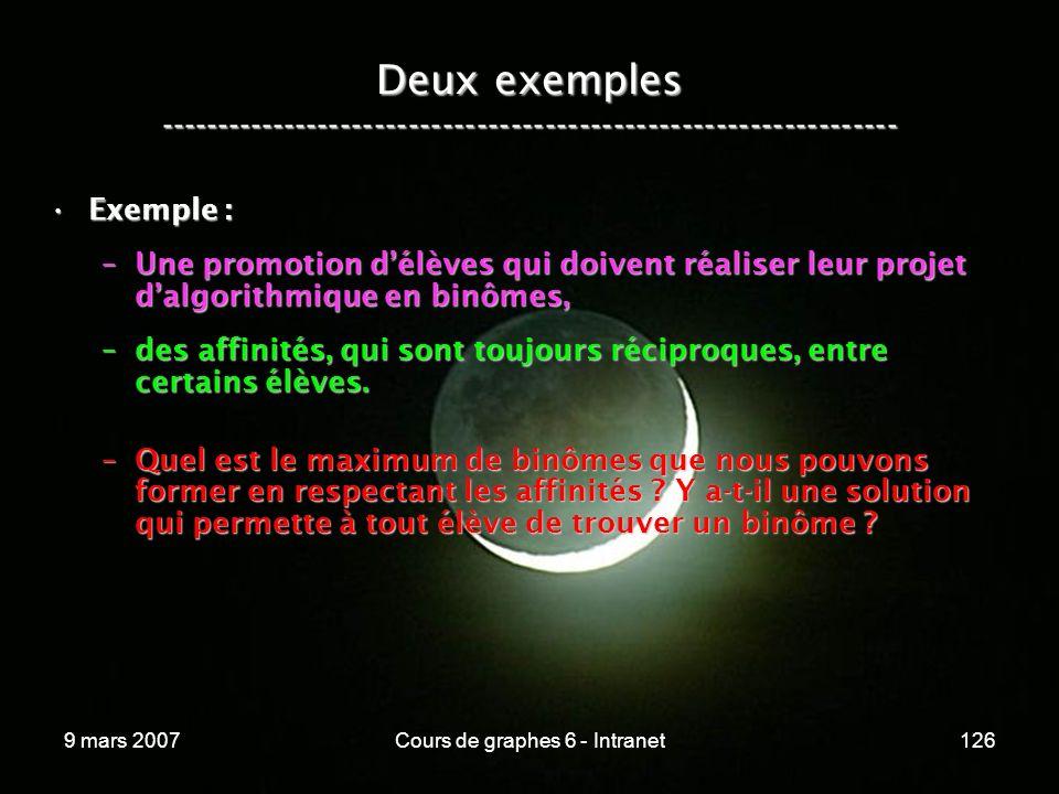 9 mars 2007Cours de graphes 6 - Intranet126 Deux exemples ----------------------------------------------------------------- Exemple :Exemple : –Une promotion délèves qui doivent réaliser leur projet dalgorithmique en binômes, –des affinités, qui sont toujours réciproques, entre certains élèves.