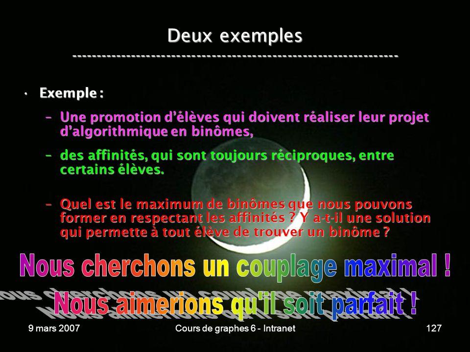 9 mars 2007Cours de graphes 6 - Intranet127 Deux exemples ----------------------------------------------------------------- Exemple :Exemple : –Une promotion délèves qui doivent réaliser leur projet dalgorithmique en binômes, –des affinités, qui sont toujours réciproques, entre certains élèves.