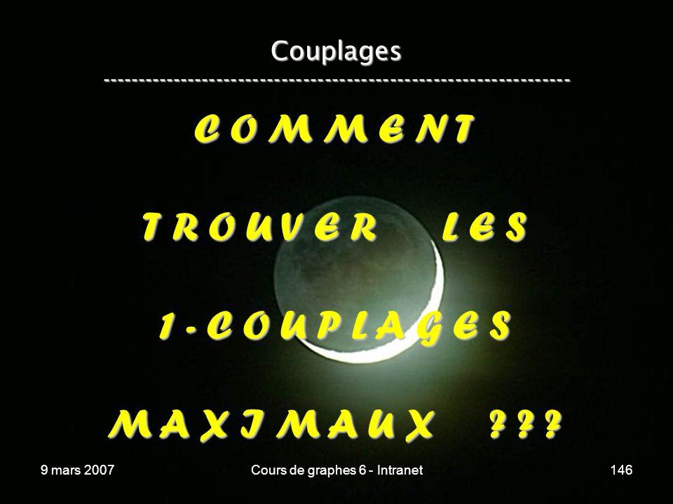 9 mars 2007Cours de graphes 6 - Intranet146 Couplages ----------------------------------------------------------------- C O M M E N T T R O U V E R L E S 1 - C O U P L A G E S M A X I M A U X .