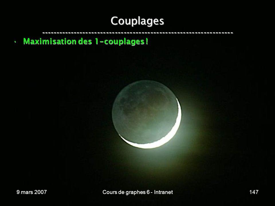 9 mars 2007Cours de graphes 6 - Intranet147 Couplages ----------------------------------------------------------------- Maximisation des 1 - couplages !Maximisation des 1 - couplages !