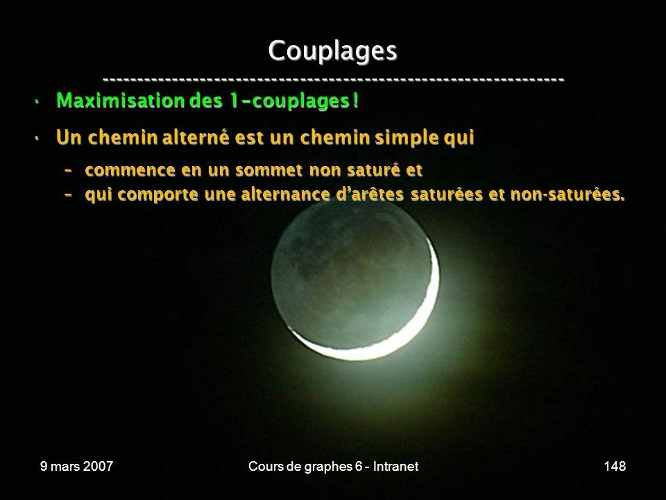 9 mars 2007Cours de graphes 6 - Intranet148 Couplages ----------------------------------------------------------------- Maximisation des 1 - couplages !Maximisation des 1 - couplages .