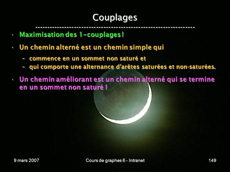 9 mars 2007Cours de graphes 6 - Intranet149 Couplages ----------------------------------------------------------------- Maximisation des 1 - couplages !Maximisation des 1 - couplages .