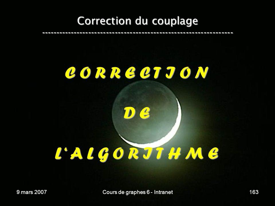 9 mars 2007Cours de graphes 6 - Intranet163 C O R R E C T I O N D E L A L G O R I T H M E Correction du couplage -----------------------------------------------------------------