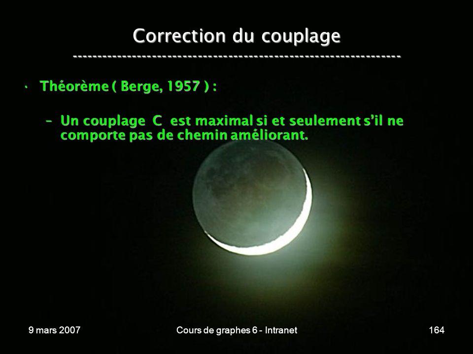 9 mars 2007Cours de graphes 6 - Intranet164 Correction du couplage ----------------------------------------------------------------- Théorème ( Berge, 1957 ) :Théorème ( Berge, 1957 ) : –Un couplage C est maximal si et seulement sil ne comporte pas de chemin améliorant.