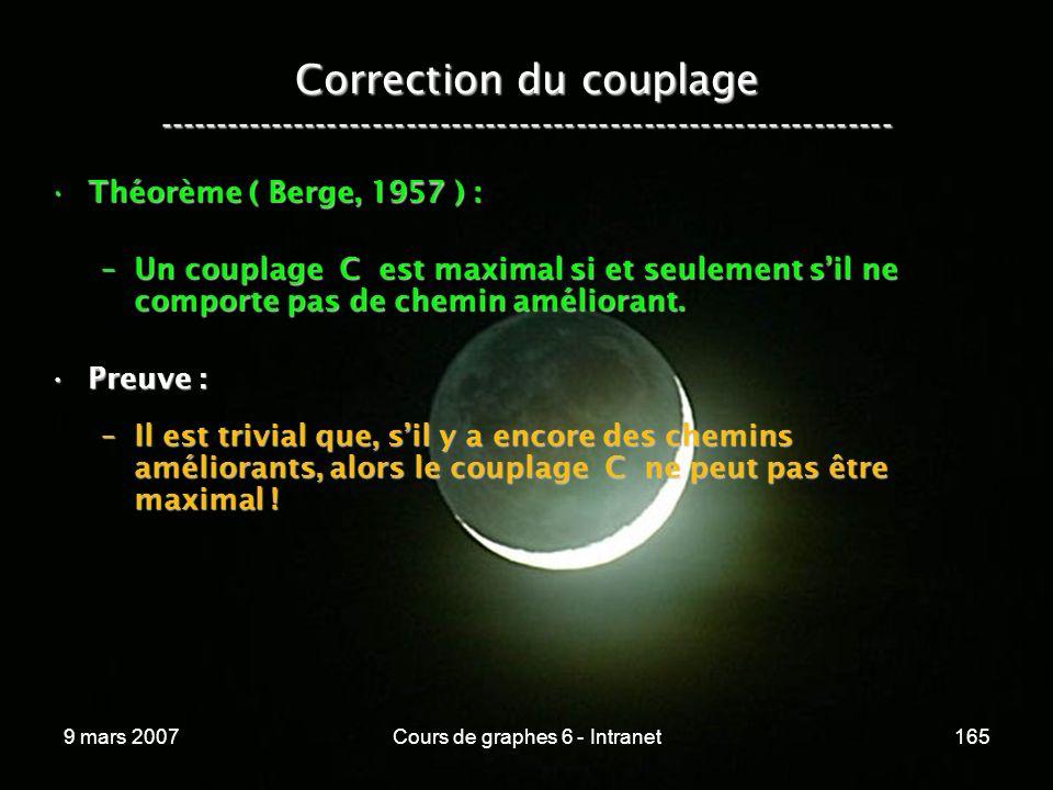 9 mars 2007Cours de graphes 6 - Intranet165 Correction du couplage ----------------------------------------------------------------- Théorème ( Berge, 1957 ) :Théorème ( Berge, 1957 ) : –Un couplage C est maximal si et seulement sil ne comporte pas de chemin améliorant.