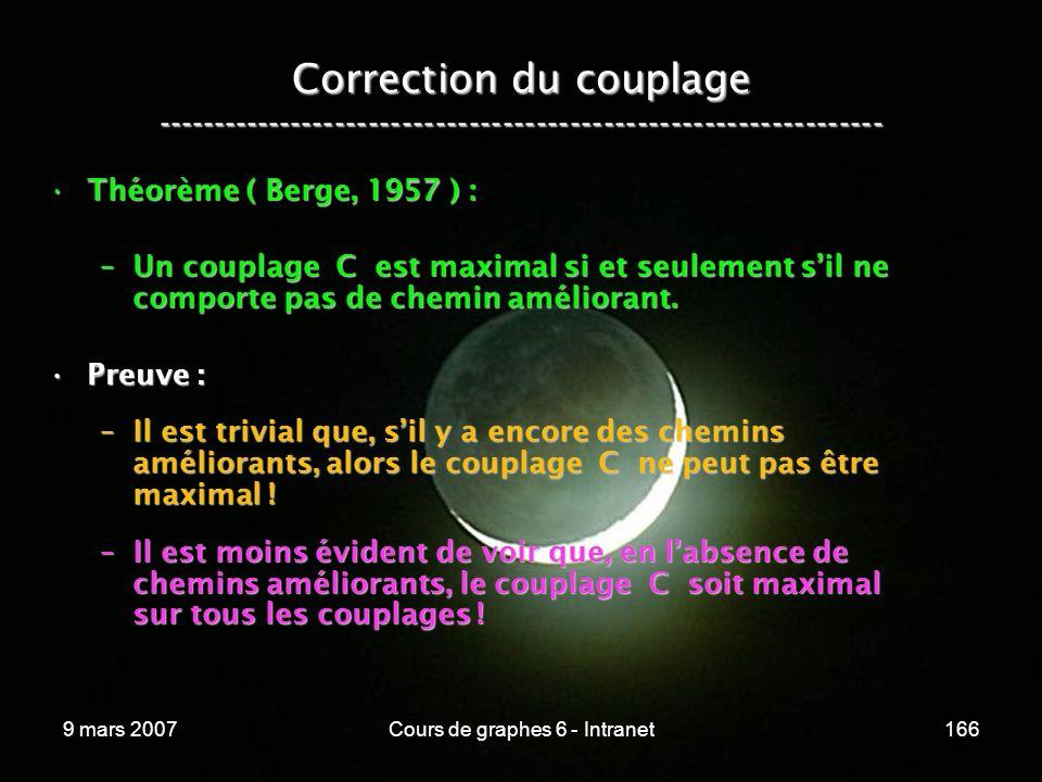 9 mars 2007Cours de graphes 6 - Intranet166 Correction du couplage ----------------------------------------------------------------- Théorème ( Berge, 1957 ) :Théorème ( Berge, 1957 ) : –Un couplage C est maximal si et seulement sil ne comporte pas de chemin améliorant.