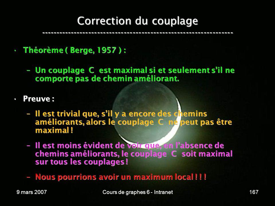 9 mars 2007Cours de graphes 6 - Intranet167 Correction du couplage ----------------------------------------------------------------- Théorème ( Berge, 1957 ) :Théorème ( Berge, 1957 ) : –Un couplage C est maximal si et seulement sil ne comporte pas de chemin améliorant.