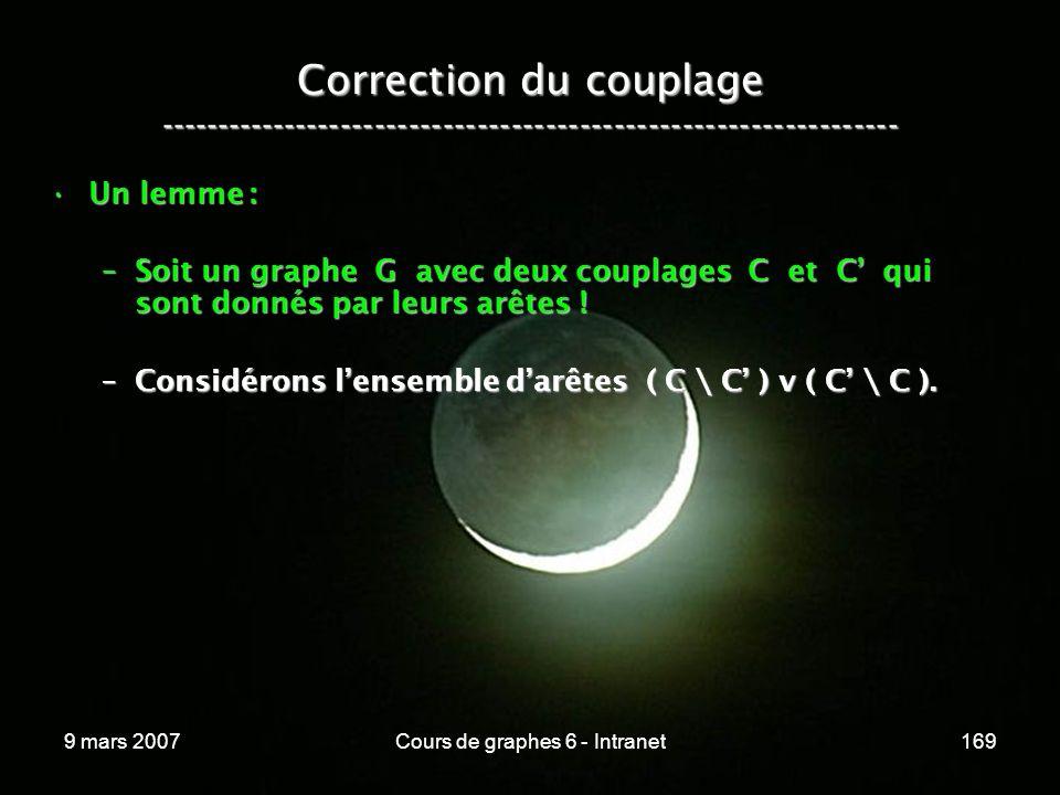 9 mars 2007Cours de graphes 6 - Intranet169 Correction du couplage ----------------------------------------------------------------- Un lemme :Un lemme : –Soit un graphe G avec deux couplages C et C qui sont donnés par leurs arêtes .