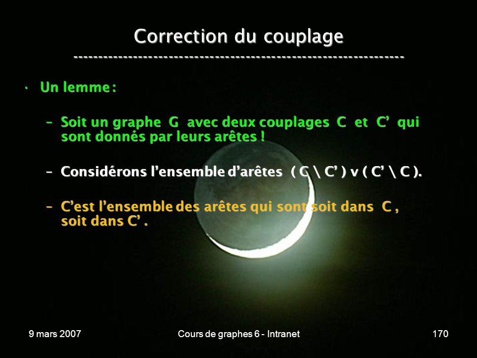 9 mars 2007Cours de graphes 6 - Intranet170 Correction du couplage ----------------------------------------------------------------- Un lemme :Un lemme : –Soit un graphe G avec deux couplages C et C qui sont donnés par leurs arêtes .