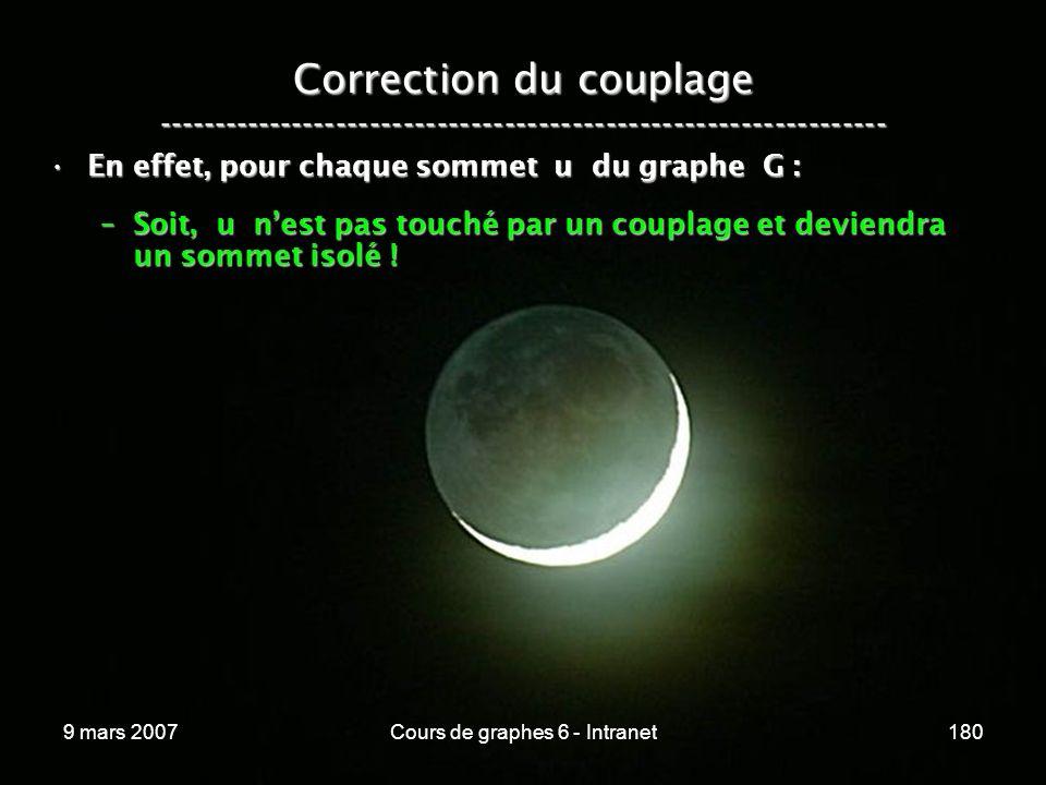 9 mars 2007Cours de graphes 6 - Intranet180 Correction du couplage ----------------------------------------------------------------- En effet, pour chaque sommet u du graphe G :En effet, pour chaque sommet u du graphe G : –Soit, u nest pas touché par un couplage et deviendra un sommet isolé !