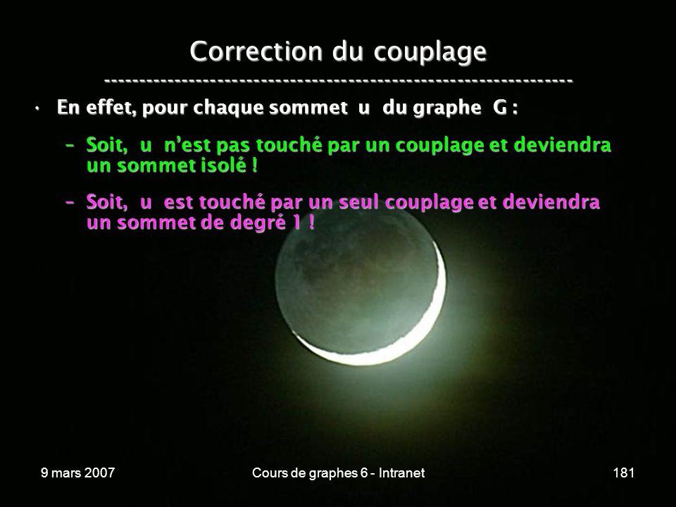 9 mars 2007Cours de graphes 6 - Intranet181 Correction du couplage ----------------------------------------------------------------- En effet, pour chaque sommet u du graphe G :En effet, pour chaque sommet u du graphe G : –Soit, u nest pas touché par un couplage et deviendra un sommet isolé .