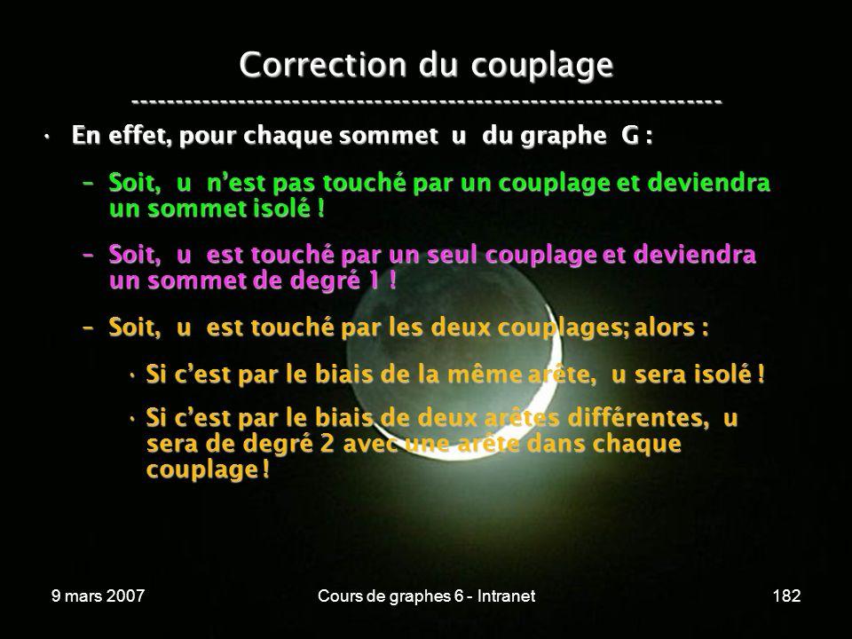 9 mars 2007Cours de graphes 6 - Intranet182 Correction du couplage ----------------------------------------------------------------- En effet, pour chaque sommet u du graphe G :En effet, pour chaque sommet u du graphe G : –Soit, u nest pas touché par un couplage et deviendra un sommet isolé .