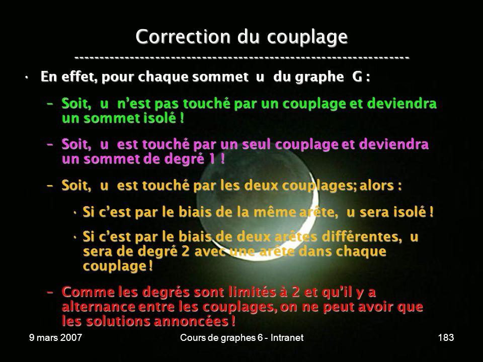 9 mars 2007Cours de graphes 6 - Intranet183 Correction du couplage ----------------------------------------------------------------- En effet, pour chaque sommet u du graphe G :En effet, pour chaque sommet u du graphe G : –Soit, u nest pas touché par un couplage et deviendra un sommet isolé .