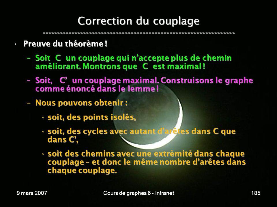 9 mars 2007Cours de graphes 6 - Intranet185 Correction du couplage ----------------------------------------------------------------- Preuve du théorème !Preuve du théorème .