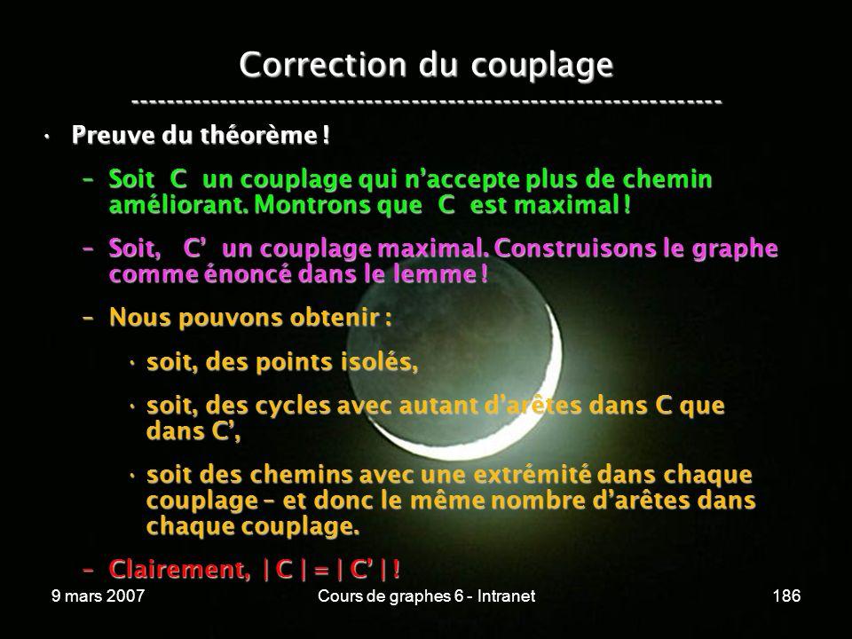 9 mars 2007Cours de graphes 6 - Intranet186 Correction du couplage ----------------------------------------------------------------- Preuve du théorème !Preuve du théorème .