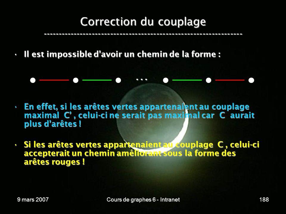 9 mars 2007Cours de graphes 6 - Intranet188 Correction du couplage ----------------------------------------------------------------- Il est impossible davoir un chemin de la forme :Il est impossible davoir un chemin de la forme : En effet, si les arêtes vertes appartenaient au couplage maximal C, celui-ci ne serait pas maximal car C aurait plus darêtes !En effet, si les arêtes vertes appartenaient au couplage maximal C, celui-ci ne serait pas maximal car C aurait plus darêtes .