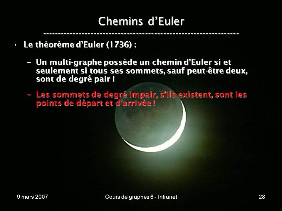 9 mars 2007Cours de graphes 6 - Intranet28 Chemins dEuler ----------------------------------------------------------------- Le théorème dEuler (1736) :Le théorème dEuler (1736) : –Un multi-graphe possède un chemin dEuler si et seulement si tous ses sommets, sauf peut-être deux, sont de degré pair .