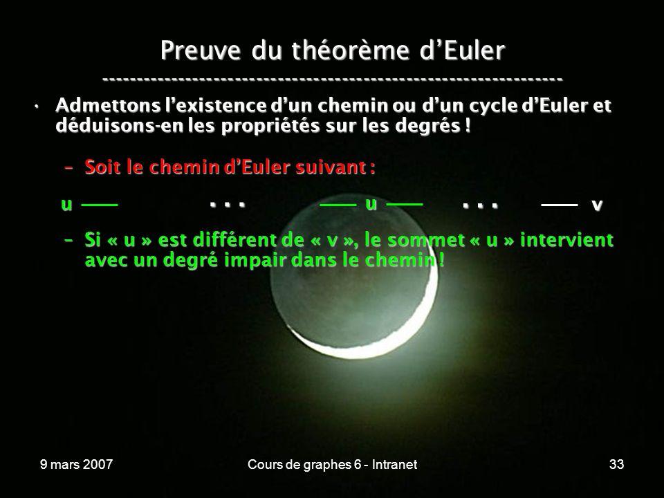 9 mars 2007Cours de graphes 6 - Intranet33 Preuve du théorème dEuler ----------------------------------------------------------------- Admettons lexistence dun chemin ou dun cycle dEuler et déduisons-en les propriétés sur les degrés !Admettons lexistence dun chemin ou dun cycle dEuler et déduisons-en les propriétés sur les degrés .