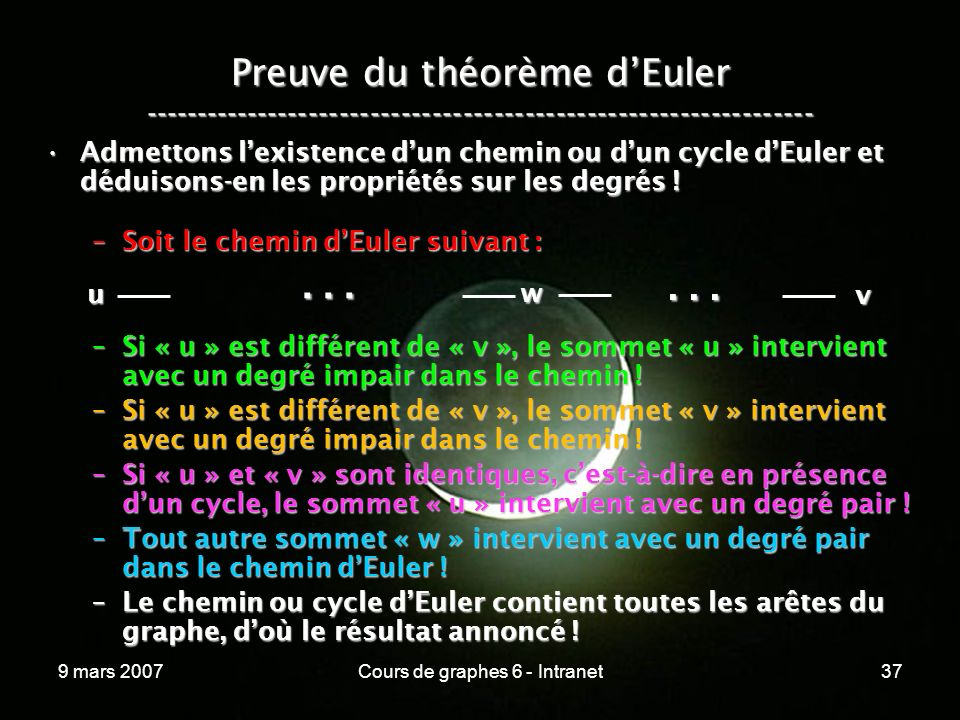 9 mars 2007Cours de graphes 6 - Intranet37 Preuve du théorème dEuler ----------------------------------------------------------------- Admettons lexistence dun chemin ou dun cycle dEuler et déduisons-en les propriétés sur les degrés !Admettons lexistence dun chemin ou dun cycle dEuler et déduisons-en les propriétés sur les degrés .