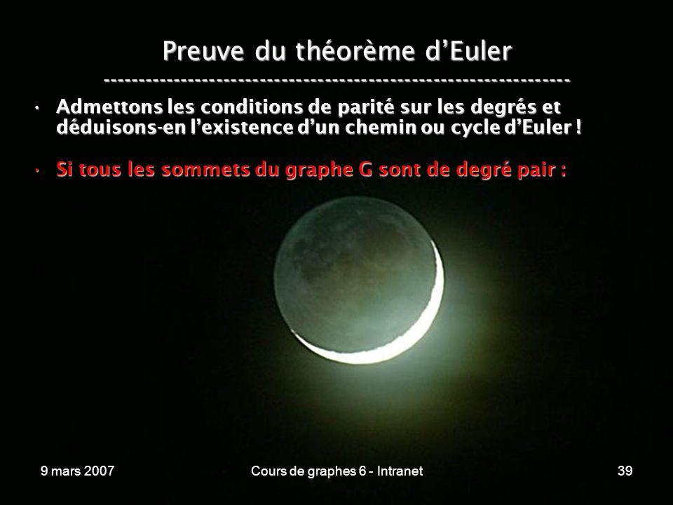 9 mars 2007Cours de graphes 6 - Intranet39 Preuve du théorème dEuler ----------------------------------------------------------------- Admettons les conditions de parité sur les degrés et déduisons-en lexistence dun chemin ou cycle dEuler !Admettons les conditions de parité sur les degrés et déduisons-en lexistence dun chemin ou cycle dEuler .