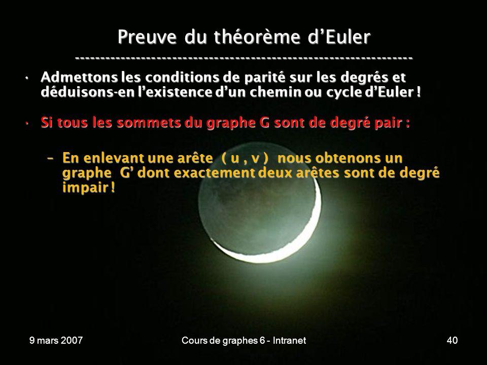 9 mars 2007Cours de graphes 6 - Intranet40 Preuve du théorème dEuler ----------------------------------------------------------------- Admettons les conditions de parité sur les degrés et déduisons-en lexistence dun chemin ou cycle dEuler !Admettons les conditions de parité sur les degrés et déduisons-en lexistence dun chemin ou cycle dEuler .