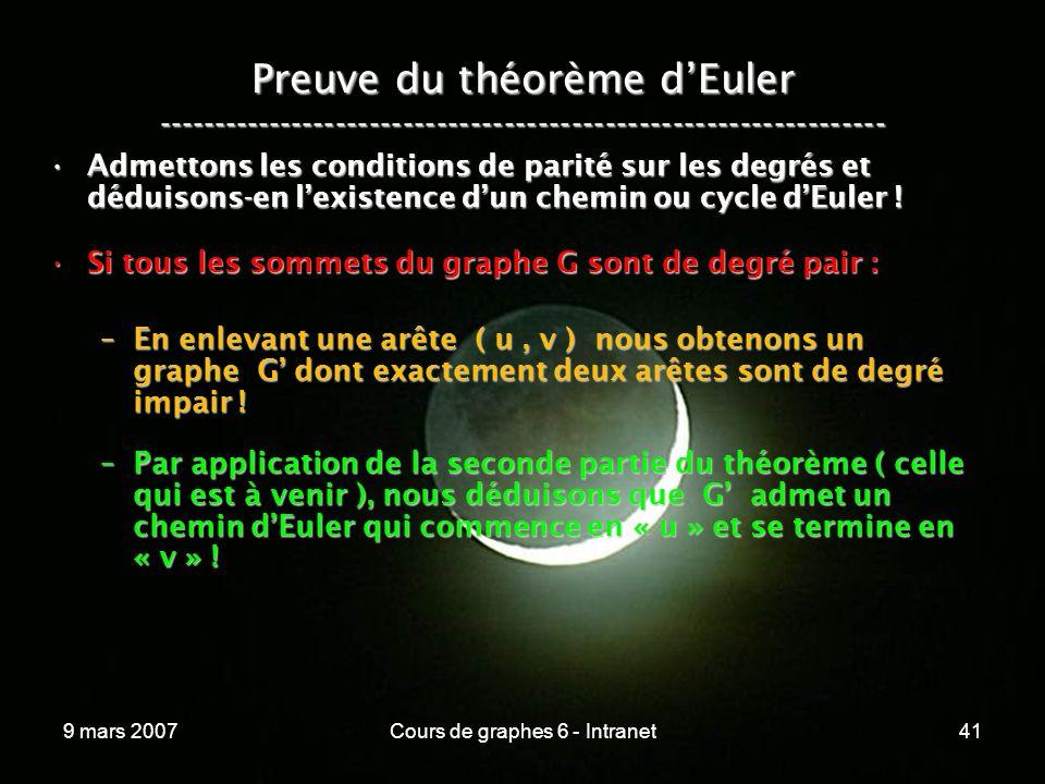 9 mars 2007Cours de graphes 6 - Intranet41 Preuve du théorème dEuler ----------------------------------------------------------------- Admettons les conditions de parité sur les degrés et déduisons-en lexistence dun chemin ou cycle dEuler !Admettons les conditions de parité sur les degrés et déduisons-en lexistence dun chemin ou cycle dEuler .