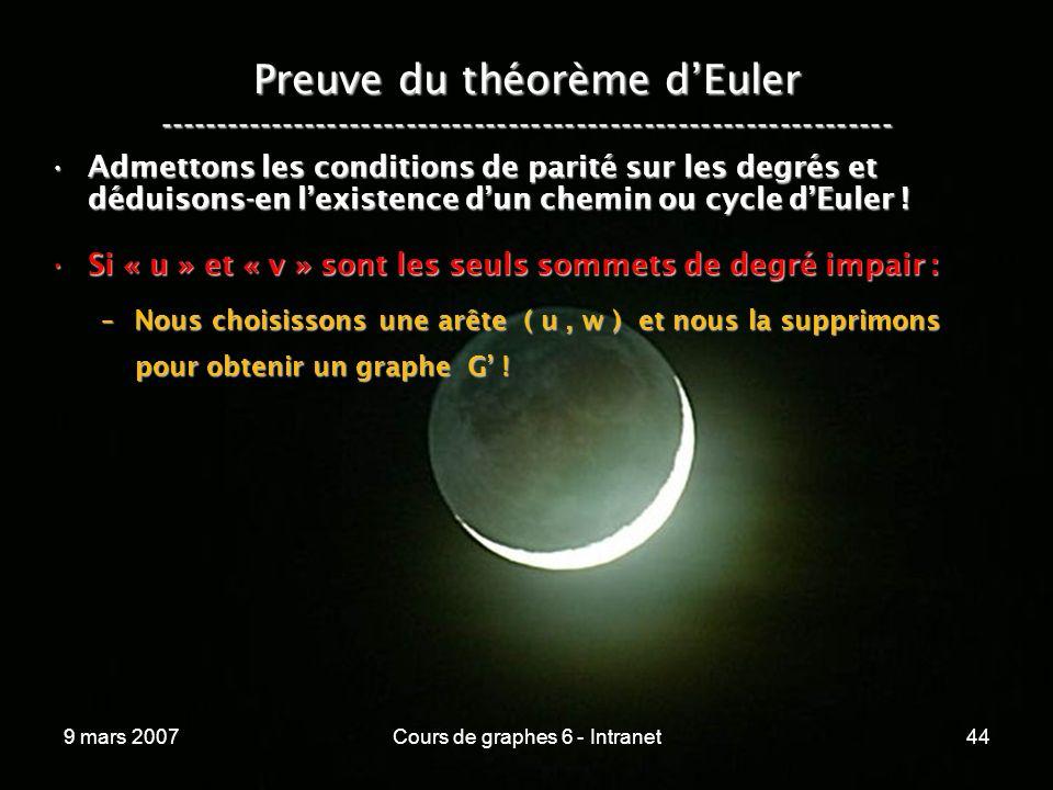 9 mars 2007Cours de graphes 6 - Intranet44 Preuve du théorème dEuler ----------------------------------------------------------------- Admettons les conditions de parité sur les degrés et déduisons-en lexistence dun chemin ou cycle dEuler !Admettons les conditions de parité sur les degrés et déduisons-en lexistence dun chemin ou cycle dEuler .