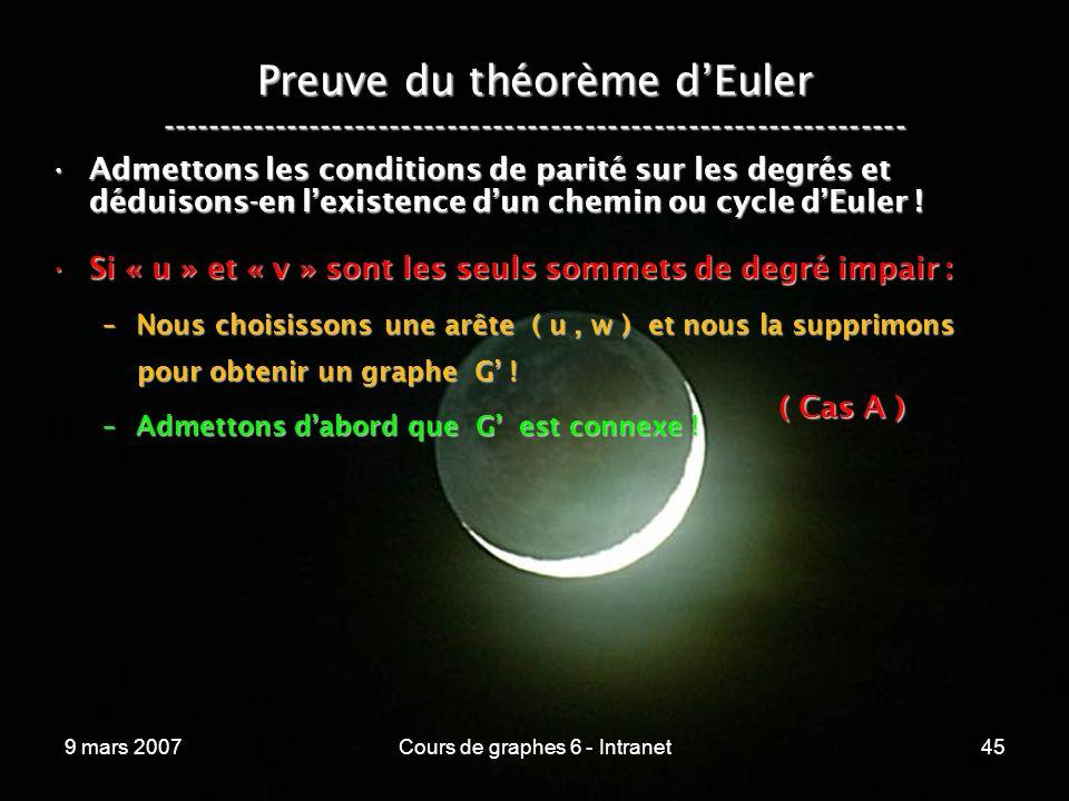 9 mars 2007Cours de graphes 6 - Intranet45 Preuve du théorème dEuler ----------------------------------------------------------------- Admettons les conditions de parité sur les degrés et déduisons-en lexistence dun chemin ou cycle dEuler !Admettons les conditions de parité sur les degrés et déduisons-en lexistence dun chemin ou cycle dEuler .