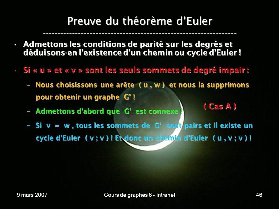 9 mars 2007Cours de graphes 6 - Intranet46 Preuve du théorème dEuler ----------------------------------------------------------------- Admettons les conditions de parité sur les degrés et déduisons-en lexistence dun chemin ou cycle dEuler !Admettons les conditions de parité sur les degrés et déduisons-en lexistence dun chemin ou cycle dEuler .